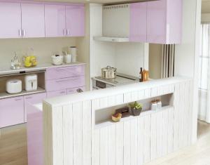 紫色のキッチン