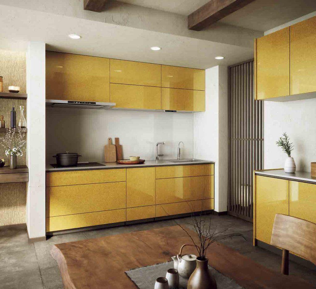 黄色のキッチン