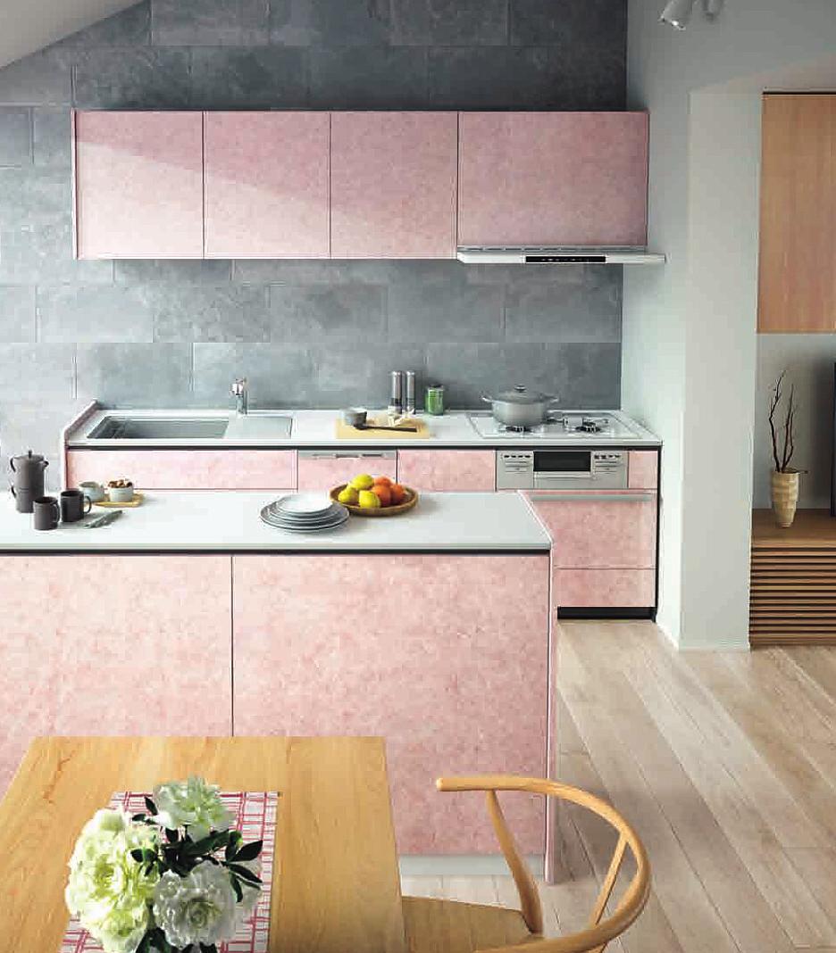 ピンク色のキッチン