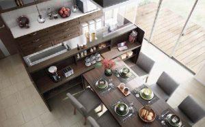 ダイニングテーブル一体キッチン