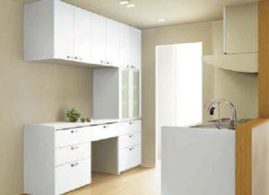 白のキッチン収納