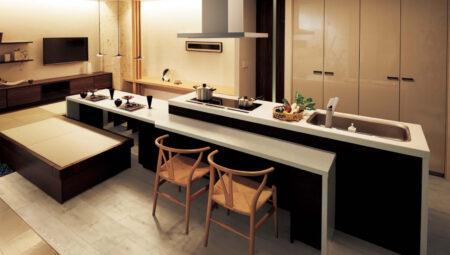 ダイニングテーブルと一体キッチン