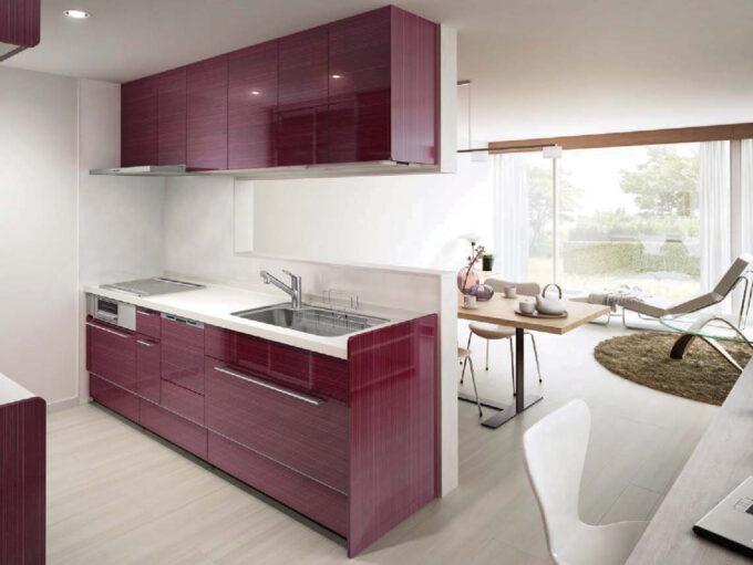 パープル色のキッチン
