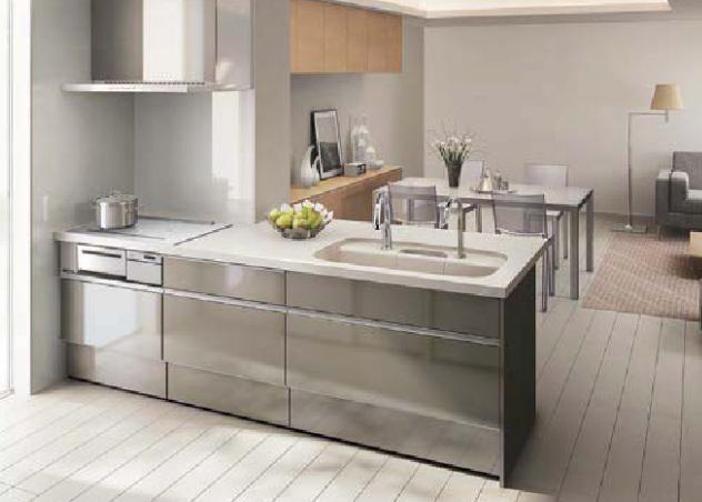 グレー色のキッチン