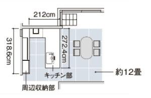 U型キッチン間取り図