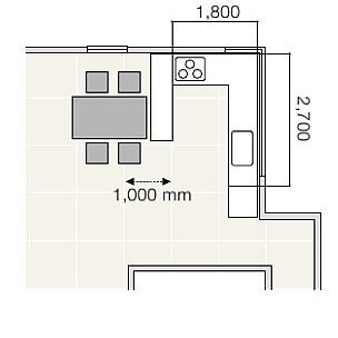 コの字型キッチンの中のスペース